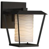 Justice Design POR-7551W-10-WAVE-MBLK-LED1-700 Limoges LED 9 inch Outdoor Wall Sconce in 700 Lm LED Matte Black Waves