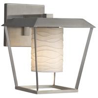 Justice Design POR-7554W-10-WAVE-NCKL-LED1-700 Limoges LED 12 inch Outdoor Wall Sconce in 700 Lm LED Brushed Nickel Waves