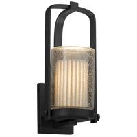 Justice Design POR-7581W-10-PLET-MBLK Limoges 1 Light 13 inch Outdoor Wall Sconce in Matte Black Pleats Incandescent