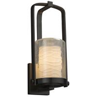 Justice Design POR-7581W-10-WAVE-MBLK Limoges 1 Light 13 inch Outdoor Wall Sconce in Matte Black Waves Incandescent
