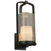Justice Design POR-7584W-10-WAVE-MBLK-LED1-700 Limoges LED 17 inch Outdoor Wall Sconce in 700 Lm LED Matte Black Waves