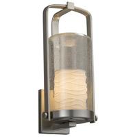 Justice Design POR-7584W-10-WAVE-NCKL-LED1-700 Limoges LED 17 inch Outdoor Wall Sconce in 700 Lm LED Brushed Nickel Waves