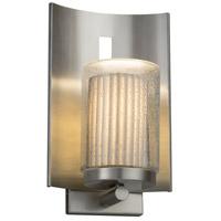 Justice Design POR-7591W-10-PLET-NCKL-LED1-700 Limoges LED 13 inch Outdoor Wall Sconce in 700 Lm LED Brushed Nickel Pleats