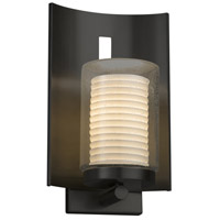 Justice Design POR-7591W-10-SAWT-MBLK Limoges 1 Light 13 inch Outdoor Wall Sconce in Matte Black Sawtooth Incandescent