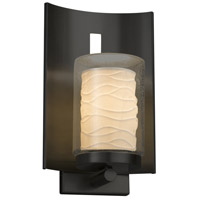 Justice Design POR-7591W-10-WAVE-MBLK Limoges 1 Light 13 inch Outdoor Wall Sconce in Matte Black Waves Incandescent