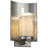 Justice Design POR-7591W-10-WAVE-NCKL-LED1-700 Limoges LED 13 inch Outdoor Wall Sconce in 700 Lm LED Brushed Nickel Waves