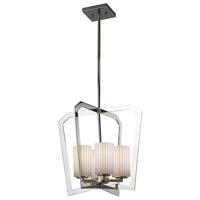 Justice Design POR-8014-10-PLET-CROM Limoges 4 Light 18 inch Chandelier Ceiling Light in Polished Chrome Pleats Incandescent