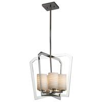 Justice Design POR-8014-10-WAVE-CROM Limoges 4 Light 18 inch Chandelier Ceiling Light in Polished Chrome Waves Incandescent