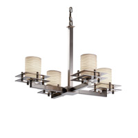 Metropolis 4 Light 25 inch Brushed Nickel Chandelier Ceiling Light in Waves, Cylinder with Flat Rim