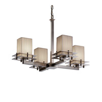Metropolis 4 Light 25 inch Brushed Nickel Chandelier Ceiling Light in Pleats, Square with Flat Rim
