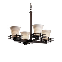 Justice Design Metropolis 4 Light Chandelier in Dark Bronze POR-8100-20-SAWT-DBRZ