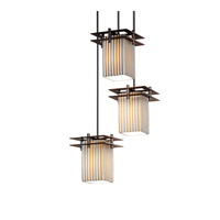 Justice Design Metropolis 3 Light Pendant in Dark Bronze POR-8166-15-PLET-DBRZ-BKCD