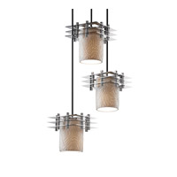 Metropolis 3 Light 7 inch Polished Chrome Pendant Ceiling Light in Bamboo, Cylinder with Flat Rim
