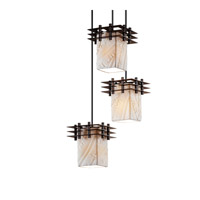 Justice Design Metropolis 3 Light Pendant in Dark Bronze POR-8168-15-BANL-DBRZ-BKCD