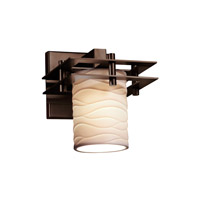 Metropolis 1 Light 7 inch Dark Bronze Wall Sconce Wall Light in Waves, Cylinder with Flat Rim