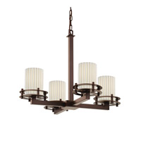 Justice Design Limoges 4 Light Chandelier in Dark Bronze POR-8200-10-PLET-DBRZ