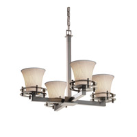 Justice Design Limoges 4 Light Chandelier in Brushed Nickel POR-8200-20-BANL-NCKL