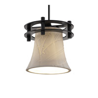 Limoges 1 Light 7 inch Matte Black Pendant Ceiling Light in Black Cord, Banana Leaf, Round Flared