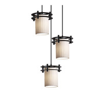Limoges 3 Light 7 inch Matte Black Pendant Ceiling Light in Waterfall, Cylinder with Flat Rim