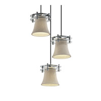 Justice Design Limoges 3 Light Pendant in Polished Chrome POR-8266-20-BANL-CROM-BKCD