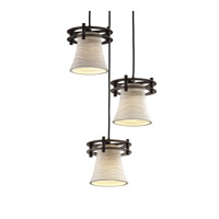 Limoges 3 Light 7 inch Dark Bronze Pendant Ceiling Light in Waves, Round Flared