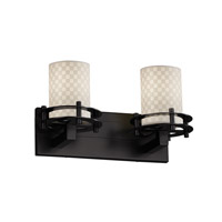 Limoges 2 Light 17 inch Matte Black Bath Light Wall Light in Checkerboard, Cylinder with Flat Rim