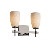 Justice Design POR-8412-28-BMBO-NCKL Limoges Union 2 Light 13 inch Brushed Nickel Bath Bar Wall Light in Bamboo Tall Tapered Cylinder Incandescent