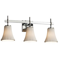 Limoges Collection 3 Light 24 inch Polished Chrome Vanity Light Wall Light in Pleats, Fluorescent, Round Flared
