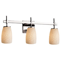 Justice Design POR-8413-28-BMBO-CROM Limoges Union 3 Light 22 inch Polished Chrome Bath Bar Wall Light in Bamboo Tall Tapered Cylinder Incandescent