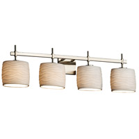 Limoges Collection LED 34 inch Brushed Nickel Vanity Light Wall Light in Waves, 2800 Lm 4 Light LED, Oval