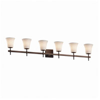 Justice Design POR-8416-20-WAVE-DBRZ Limoges 6 Light 49 inch Dark Bronze Bath Bar Wall Light photo thumbnail