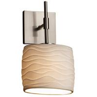 Justice Design POR-8417-30-WAVE-NCKL-LED1-700 Limoges LED 7 inch Brushed Nickel ADA Wall Sconce Wall Light in 700 Lm LED, Waves, Oval