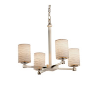 Limoges Collection 5 Light 21 inch Brushed Nickel Chandelier Ceiling Light in Waves, Fluorescent, Cylinder with Flat Rim