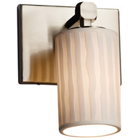 Limoges Collection 1 Light 6 inch Brushed Nickel Wall Sconce Wall Light in Waterfall, Fluorescent, Cylinder with Flat Rim