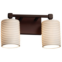 Limoges Collection 2 Light 13 inch Dark Bronze Vanity Light Wall Light in Sawtooth, Fluorescent, Cylinder with Flat Rim