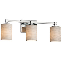 Limoges Collection LED 22 inch Polished Chrome Vanity Light Wall Light in Waves, 2100 Lm 3 Light LED, Cylinder with Flat Rim