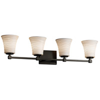 Limoges Collection LED 33 inch Matte Black Vanity Light Wall Light in Waves, 2800 Lm 4 Light LED, Round Flared