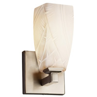 Justice Design POR-8431-65-BANL-NCKL Limoges Regency 1 Light 5 inch Brushed Nickel Wall Sconce Wall Light in Banana Leaf Tall Tapered Square