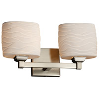 Limoges Collection 2 Light 16 inch Brushed Nickel Vanity Light Wall Light in Waves, Fluorescent, Oval