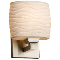 Limoges Collection 1 Light 7 inch Brushed Nickel ADA Wall Sconce Wall Light in Waves, Fluorescent