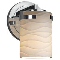 Justice Design POR-8451-10-WAVE-CROM Limoges 1 Light 5 inch Wall Sconce Wall Light in Polished Chrome Waves Incandescent