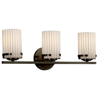 Justice Design POR-8453-10-PLET-DBRZ Limoges 3 Light 23 inch Vanity Light Wall Light in Dark Bronze Pleats Incandescent