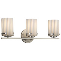 Justice Design POR-8453-10-PLET-NCKL Limoges 3 Light 23 inch Vanity Light Wall Light in Brushed Nickel Pleats Incandescent