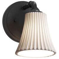 Justice Design POR-8461-20-WAVE-MBLK-LED1-700 Limoges LED 6 inch Matte Black Wall Sconce Wall Light in 700 Lm LED Waves Round Flared