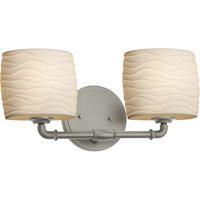 Justice Design POR-8462-30-WAVE-NCKL Limoges 2 Light 17 inch Brushed Nickel Bath Bar Wall Light Oval