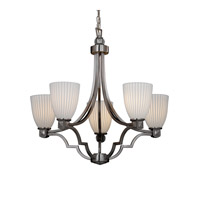 Limoges 5 Light 28 inch Brushed Nickel Chandelier Ceiling Light in Pleats, Tapered Cylinder