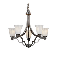 Justice Design POR-8500-20-PLET-NCKL Limoges 5 Light 28 inch Brushed Nickel Chandelier Ceiling Light in Pleats, Round Flared photo thumbnail