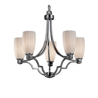 Justice Design POR-8500-28-WFAL-CROM Limoges 5 Light Polished Chrome Chandelier Ceiling Light in Waterfall, Tall Tapered Cylinder photo thumbnail