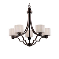 Justice Design Limoges Argyle 5-Light Chandelier in Dark Bronze POR-8500-45-PLET-DBRZ
