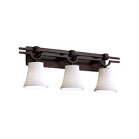 Limoges 3 Light 29 inch Dark Bronze Bath Bar Wall Light in Waves, Round Flared
